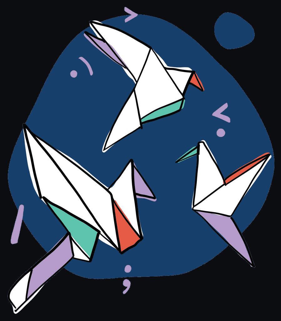 Illustration Formation Origami